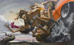 """Zero Gravity"", paintings by Los Angeles-based artist Nicola Verlato. More images below. Nicola Verlato's Website Surrealism Painting, Pop Surrealism, Artist Profile, Creative Illustration, Italian Artist, Rivera, Artwork, Car Crash, Zero"