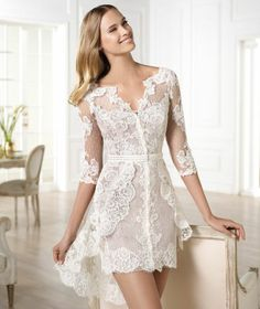 New Long Sleeved Boho Style Above Knee Length Summer Lace Wedding Dress 6-22