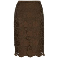 No. 21 Floral macramé-lace midi skirt (€365) ❤ liked on Polyvore featuring skirts, khaki, floral skirt, knee length pencil skirt, lace skirt, floral midi skirt and brown skirt