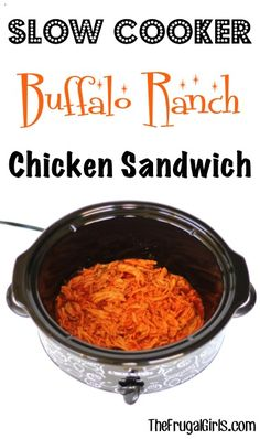 What do you get when you combine spicy Buffalo sauce and zesty Ranch mix? You get this crazy delicious Crockpot Buffalo Chicken Recipe! Just 3 ingredients! Buffalo Chicken Recipes, Chicken Sandwich Recipes, Recipe Chicken, Slow Cooker Recipes, Crockpot Recipes, Cooking Recipes, Meat Recipes, Crockpot Dishes