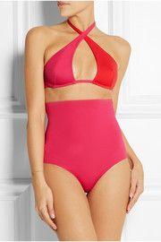 Bicolore wrap cutout swimsuit