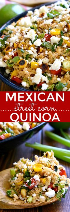 Looking to mix up your salad routine? This Mexican Street Corn Quinoa is for you! Loaded with all the delicious flavors of Mexican Street Corn, this quinoa salad is fresh, flavorful, and perfect for s (Quinoa Chicken Chili) Mexican Food Recipes, Vegetarian Recipes, Cooking Recipes, Healthy Recipes, Avocado Recipes, Cooking Tips, Recipes With Corn, Frozen Corn Recipes, Vegetarian Mexican