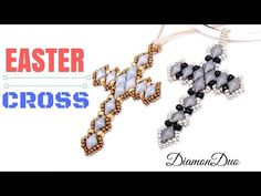DIY beaded cross earrings and beaded cross pendant with pearls beads. These beaded earrings are one of the simplest beading pattern . They make a great gift ...