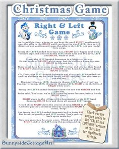 Christmas Right and Left Story/Game. by SunnysideCottageArt