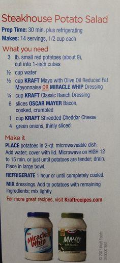 Easy steakhouse potato salad. Bacon.