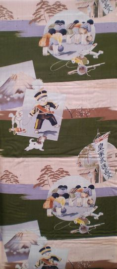 Kimono fabric showing a boy wearing an officer's dress uniform, and children praying at a shrine to honor those killed in war. Children would dress up in military uniform to celebrate Empire Day, the Emperor's birthday, and to visit Yasukuni Shrine to pay homage to the fallen.