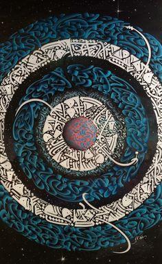 DesertRose,;,calligraphy art,;, SILVERBLUE By Sami Gharbi (Tunisia) 100x60cm الخطوط: خط حر، قيرواني Acrylic, Ink and Pastel on canvas www.calligraphy-samigharbi.com,;,