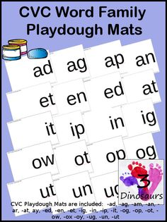 Free CVC Word Family Playdough Mats: -ad, -ag, -am, -an, -ar, -at, ay, -ed, -en, -et, -ig, -in, -ip, -it, -og, -op, -ot, -ow, -ox -oy, -ug, -un, -ut - 3Dinosaurs.com