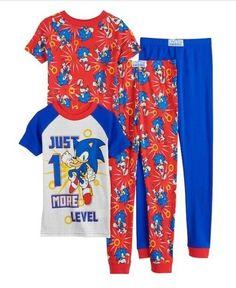 SONIC The Hedgehog Pajamas Boy's 4 NeW 4 piece Set Shirt Pants SNUG FIT Pjs Sets #SonicTheHedgehogPajamas #SonicTheHedgehogPajamaSets #SonicTheHedgehog