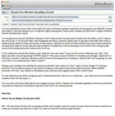 Honest coworker's goodbye email | Work-Related | Pinterest ...