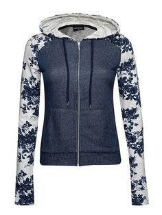 Vive Maria Faded Blue Kapuzenjacke dunkelblau/grau meliert Allover-Print Damen Sweater, Hoodies & Cardigans