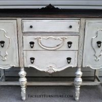Chunky Antiqued Buffet in distressed Antiqued White, with Dark Brown top. From Facelift Furniture's Hutches, Cabinets & Buffets collection.