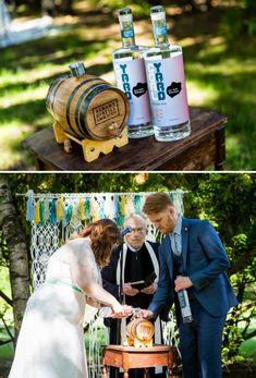 Making Whiskey in the wedding ceremony… so unique instead of sand!