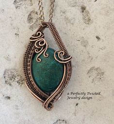 Chrysocolla Wire Wrap Pendant Necklace, Handmade Copper Wire Jewelry, Communication Stone, Antiqued Wire Weave Jewelry #wirejewelry