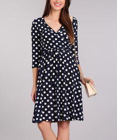 Navy Polka Dot V-Neck Dress - Plus Too | zulily