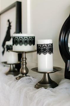 Halloween Decorating Ideas: How to Make Black Lace Candles | how-tos | DIY