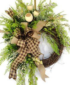 Country Burlap Wreath All Year Wreath by SistersFloralandGift