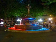 Fountain at night in Paris