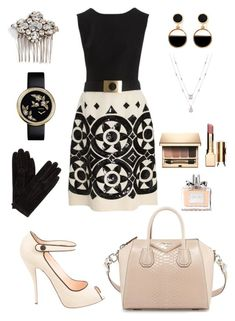 """👌🏻"" by queen-naznaz ❤ liked on Polyvore featuring Valentino, Givenchy, Christian Louboutin, Camilla Christine, John Lewis, Clarins, Christian Dior and Warehouse"