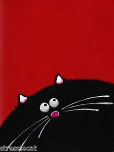 ACEO Print Acrylic Painting Folk Art Whimsical Illustration Fat Black Cat Red 6…