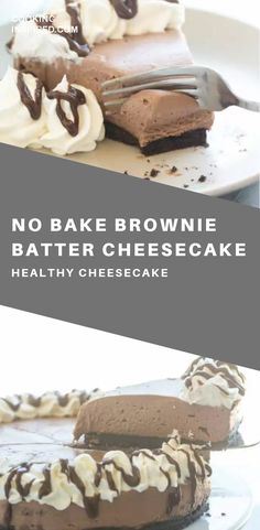 This No Bake Brownie Batter Cheesecake is the cheesecake for chocolate lovers! It's rich and fudgy with no oven required! Healthy Cheesecake, Healthy Cake Recipes, Cheesecake Recipes, Sweet Recipes, Cheesecake Cake, Healthy Food, Baking Desserts, No Bake Desserts, Easy Desserts