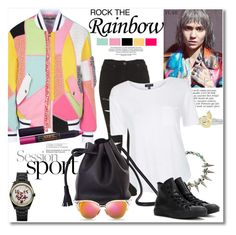 """""""Get the look Rainbow"""" by vkmd ❤ liked on Polyvore featuring Moschino, Anja, Topshop, Alex and Ani, Rock 'N Rose, Shaffer, Converse, Vivienne Westwood, Lipstick Queen and Fendi"""