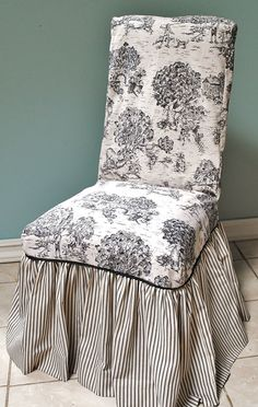 Black and Ivory Toile Chair Cover by PaulaAndErika on Etsy, $80.00