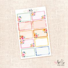 Sunset Garden - 10 Half Box Stickers / Watercolor Floral Stickers - planners,journals
