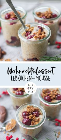 Weihnachtliches Dessert: Lebkuchen-Mousse - New Ideas Mousse Dessert, Bon Dessert, Mascarpone Dessert, Snack Recipes, Dessert Recipes, Snacks, Desserts In A Glass, Spice Bread, Health Desserts