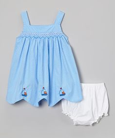 Look at this #zulilyfind! Blue Pin Dot Sailboat Dress & Diaper Cover - Infant by Fantaisie Kids #zulilyfinds