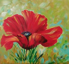 RED POPPY PAINTING Wood Original FLORIDA ARTIST Pat Rollins #OutsiderArt