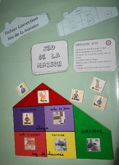 Jeu et atelier de lecture : Jeu de la maison réalisé par Le Petit Prince...  Il s'agit de retrouver le lieu où se trouve chaque personnage de la maison à l'aide de cartes énigmes.