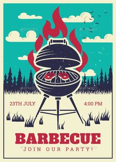 Buy Vintage BBQ Grill Party Poster by MicrovOne on GraphicRiver. Barbecue vintage g. Bbq Grill, Barbecue, Grill Logo, Grill Party, Bbq Party, Coal Bbq, Menu Illustration, Food Illustrations, Invitation Cards
