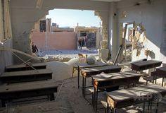 シリアの学校に空爆、児童22人含む35人死亡 政府かロシア軍が実施