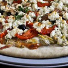 Ελληνική πίτσα Greek Pizza, Calzone, Greek Recipes, Vegetable Pizza, Quiche, Dishes, Meat, Chicken, Vegetables
