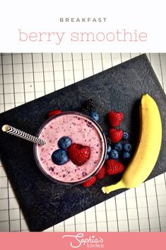 This breakfast berry smoothie recipe is a perfect breakfast dink. It is super easy to make and gives you nearly four of your five a day. Berry Smoothie Recipe, Smoothie Recipes, Yummy Smoothies, Breakfast Smoothies, Traybake Cake, Kale, Spinach, Muesli Bars, Thermomix