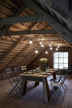 I've always loved the magic of attics and lofts but this is a use I hadn't considered. Talk about inspired dining. - Eve.