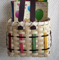 Crayon Basket Handwoven with brown shaker tape handles. $35.00, via Etsy.