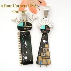 Inlay Kachina Dancer Pendants Navajo Artisan Calvin Desson Four Corners USA OnLine Fine Native American Jewelry