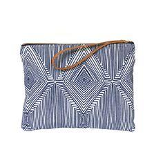 Clutch Wristlet  Fabric Clutch Leather Handle by LuzPaucar on Etsy