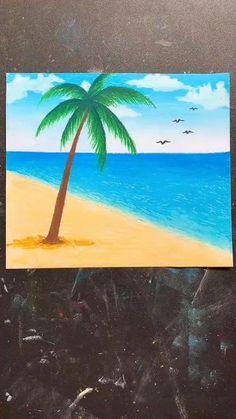 Oil Pastel Drawings Easy, Oil Pastel Paintings, Oil Pastel Art, Easy Nature Paintings, Beach Canvas Paintings, Beach Canvas Art, Oil Pastels, Beach Art, Diy Canvas Art