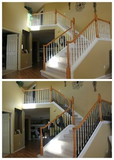 Paint all the spindles black to create an 'almost iron' look! Next, I'll stain the banister a darker shade.