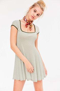 Cooperative Gilly Rib Square-Neck Mini Dress - Green stripe or Red stripe S