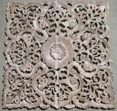 Hand carved Teak Wood Panel from Thailand.  Intricately hand carved with floral details