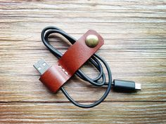 Earphone organizer, brown earphone holder winder wrap, personalized cable organizer gifts, earbud holder, iPhone earbuds