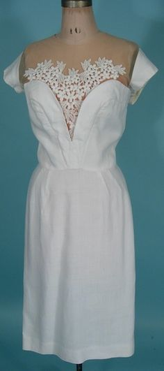 1950's White Linen Dress with Sheer and Lace Bodice and Cap Sleeves   http://www.antiquedress.com/item7326.htm