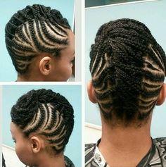 cool black braided mohawk