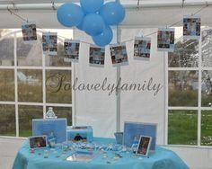 Table à dragées baptême Mer, Bateau blanc et bleu