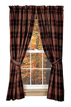 New Primitive Country  Burgundy Wine Black Tan VILLAGE PLAID PANELS Curtain #Country
