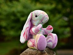 Taffy is a handmade bunny rabbit toy that makes the perfect addition to your childs stuffed animal collection.  Except she's not just any stuffed animal, she is posable and stimulates imaginative play.   No little ones you your house, that's okay because she would make a great gift!  Taffy has a ...